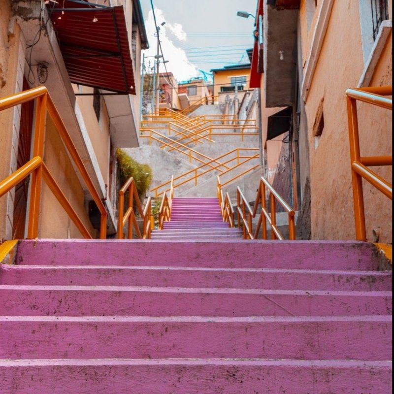 Steps to The Panecillo Look Out. Quito, Ecuador